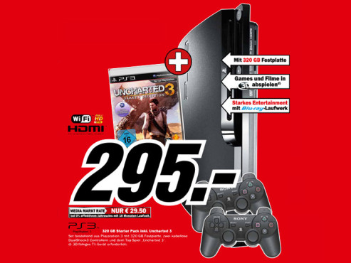 Sony Playstation 3 (PS3) slim 320GB Uncharted 3 Bundle © Media Markt