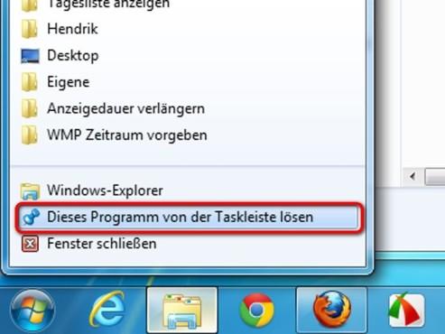 Lösen Sie das Programm von der Startleiste ©Microsoft