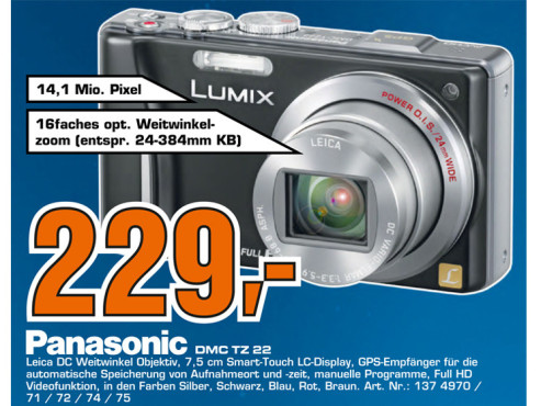 Panasonic Lumix DMC-TZ22 © Saturn