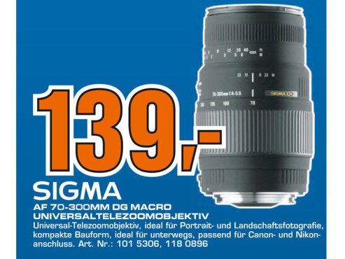 Sigma 70-300mm Canon © Saturn