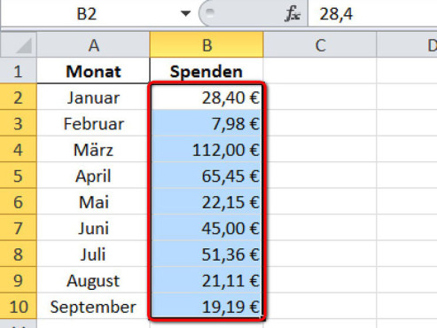 Schritt 1 ©Microsoft Excel 2010
