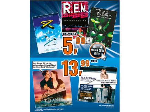 Diverse Musik-CDs und -DVDs ©Saturn