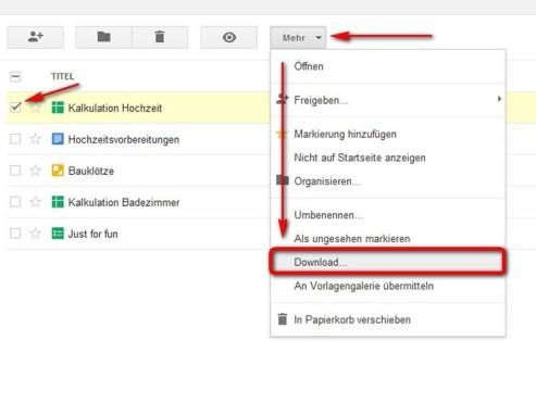 Datei herunterladen aus dem Hauptmenü ©Google