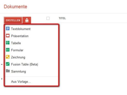 Die Funktionen von Google Docs ©Google