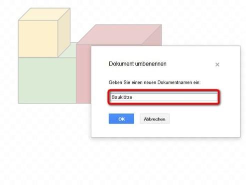 Tippen Sie den Namen f�r das Dokument ein ©Google
