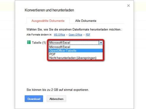 Wählen Sie das Dateiformat aus ©Google