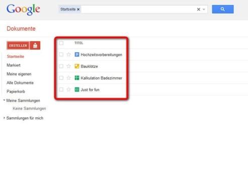 �bersicht der Google-Dokumente ©Google