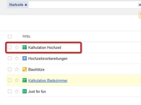 �bersicht �ber Ihre Dateien ©Google