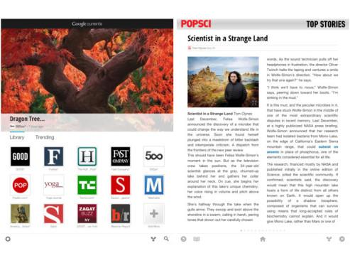 Google Currents: Menü- und Artikelansicht auf dem iPad ©iTunes