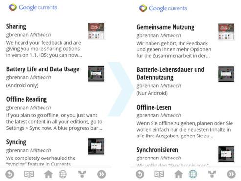 Google Currents: Übersetzen mit Google Translate ©COMPUTER BILD