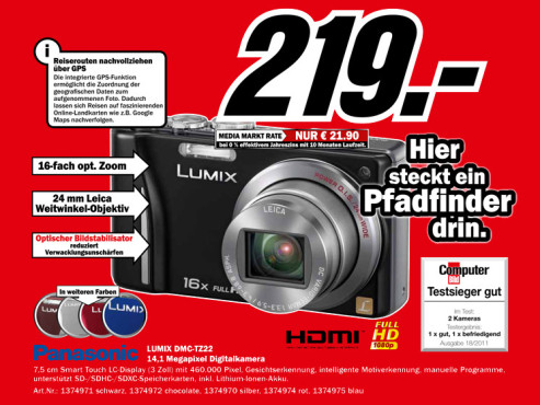 Panasonic Lumix DMC-TZ22 © Media Markt
