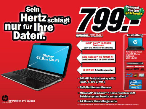 Hewlett-Packard HP Pavilion dv6-6c32eg © Media Markt
