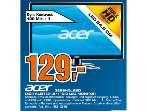 Acer G226HQLBbd ©Saturn