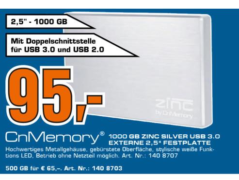 CnMemory 2.5 Zinc USB 3.0 1TB ©Saturn