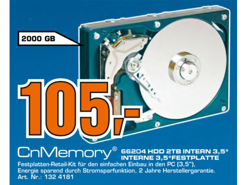 CnMemory interne HDD 3.5 SATA 2TB © Saturn