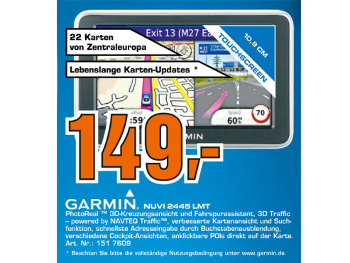 Garmin Nüvi 2445LMT Central Europe © Saturn