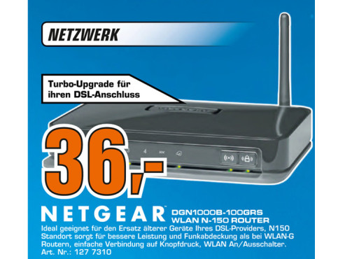 Netgear Wireless-N 150 ADSL2+ Modemrouter (DGN1000B) © Saturn