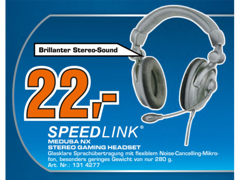 Speed-Link Medusa NX Stereo Gaming Headset (SL-8781-SBK) © Saturn