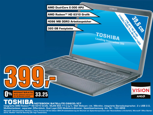 Toshiba Satellite C660D-1C7 © Saturn