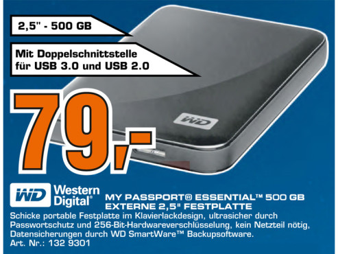Western Digital My Passport Essential USB 3.0 500GB © Saturn