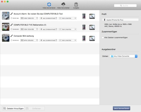 Screenshot 1 - Any Video Converter Free (Mac)