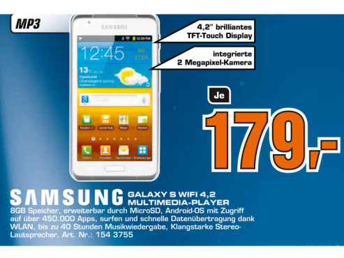 Samsung Galaxy S WiFi 4.2 8GB © Saturn