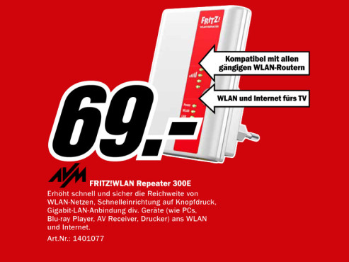 AVM Fritz!WLAN Repeater 300E © Media Markt
