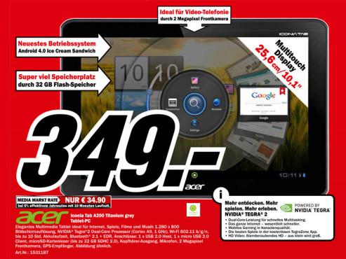 Acer Iconia Tab A200 grau (XE.H8QEN.001) ©Media Markt