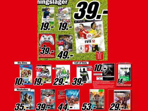 Diverse Videospiele (PC, Xbox 360 und PlayStation 3) © Media Markt