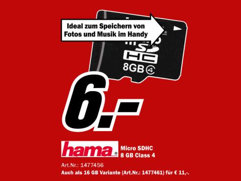 Hama microSDHC Card 8 GB Class 4 ©Media Markt
