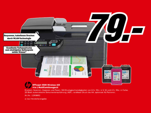 Hewlett-Packard HP Officejet 4500 Wireless © Media Markt