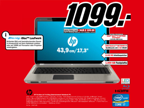 Hewlett-Packard HP Pavilion dv7-6c32eg © Media Markt