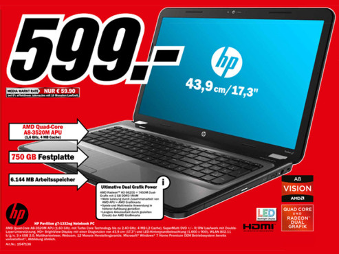 Hewlett-Packard HP Pavillion g7-1332eg © Media Markt
