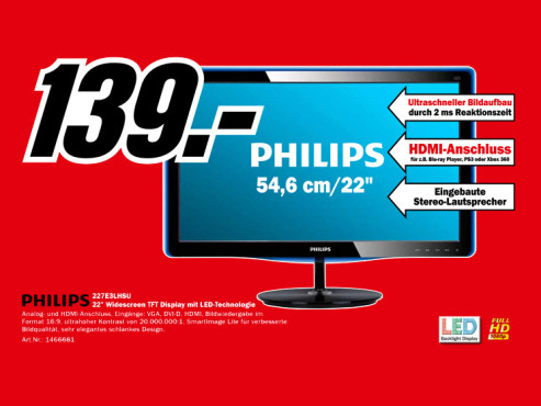 Philips 227E3LHSU © Media Markt