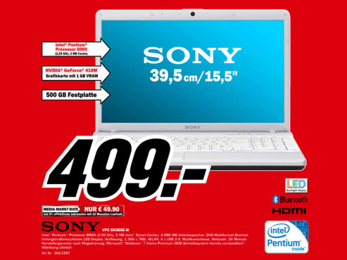 Sony VPC EH3E0E-W ©Media Markt