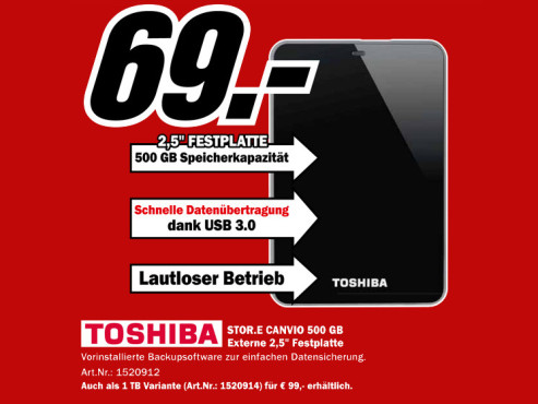 Toshiba StorE Canvio USB 3.0 500GB © Media Markt