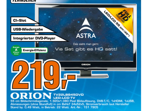Orion Electric LED TV 22LB845DVD © Saturn