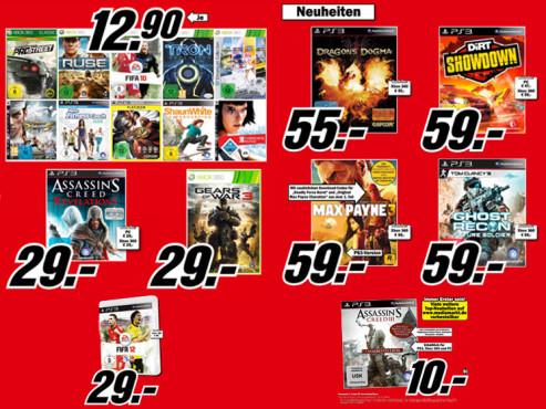 Diverse Videospiele für Xbox 360 und Playstation 3 ©Media Markt