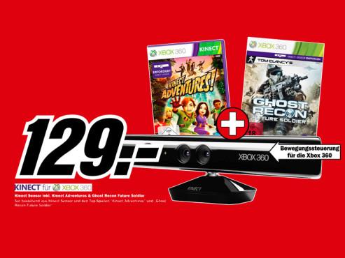 Microsoft Kinect Sensor + Kinect Adventures (Xbox 360) ©Media Markt