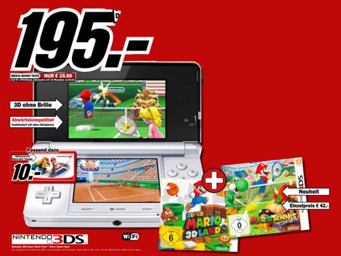 Nintendo 3DS Schneeweiß inkl. Super Mario 3D Land ©Media Markt