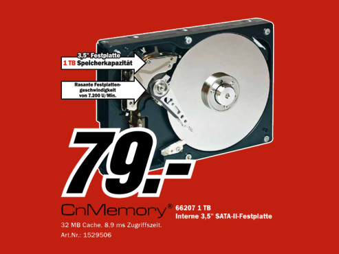 CnMemory SATA 3.5 1TB (66202) ©Media Markt