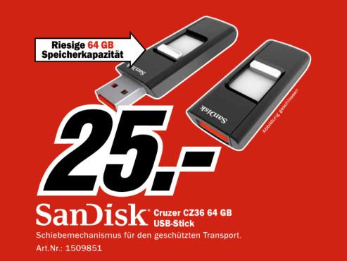 Sandisk Cruzer 64GB (SDCZ36-064G-B35) ©Media Markt