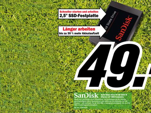 Sandisk Solid State Drive 64 GB SATA III ©Media Markt