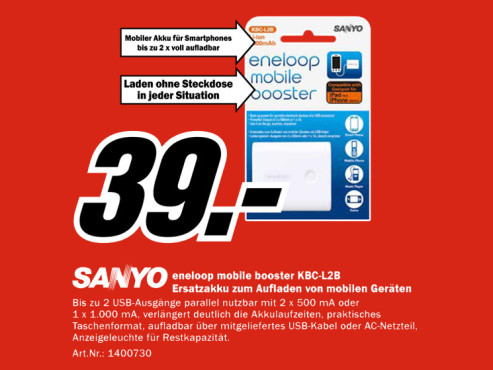 Sanyo Eneloop Mobile Booster Ion 2 USB © Media Markt