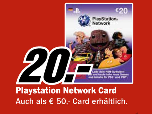 Sony PlayStation Network Card 20 € © Media Markt