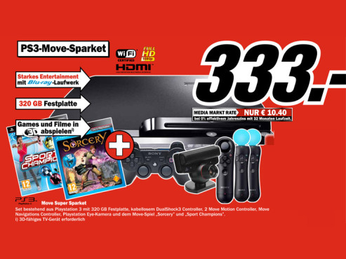 Sony Playstation 3 (PS3) slim 320GB Move Super Paket ©Media Markt