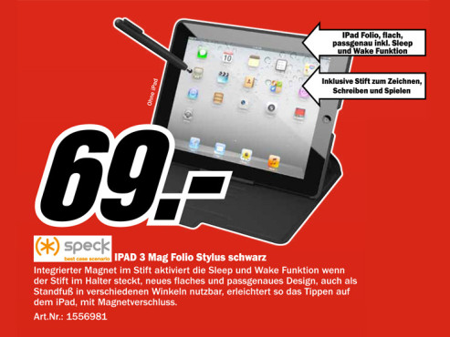 Speck iPad3 MagFolio Vegan Leather (Black) © Media Markt
