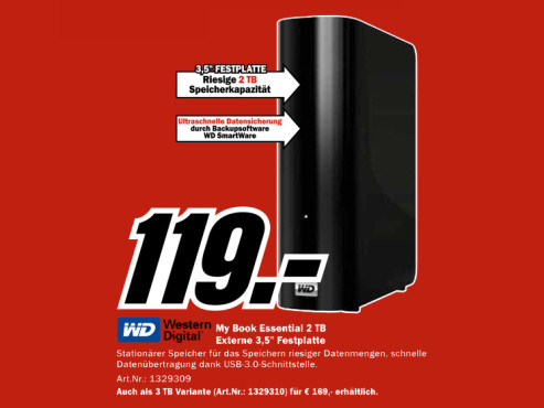Western Digital My Book Essential USB 3.0 2TB © Media Markt