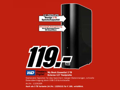 Western Digital My Book Essential USB 3.0 2TB ©Media Markt