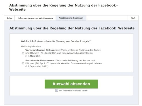 Facebook-Abstimmung Screenshot © COMPUTER BILD